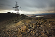Power Line In The Mountains Near The Town Of Karabash, Russia.
