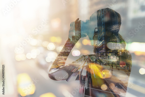 Fotografie, Obraz  Double exposure of woman using the virtual reality headset