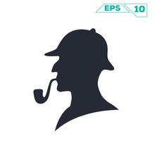 Sherlock Holmes Pipe Silhouette Illustration Vector Design