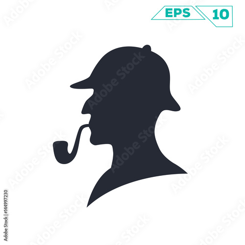 sherlock holmes pipe silhouette illustration vector design фототапет