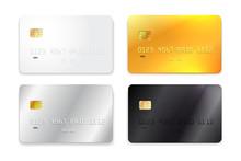 Set Of Credit Card, White, Gol...