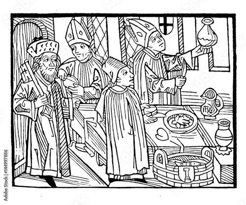 Bishops banqueting at  Council of Constance , vintage engraving Wall mural