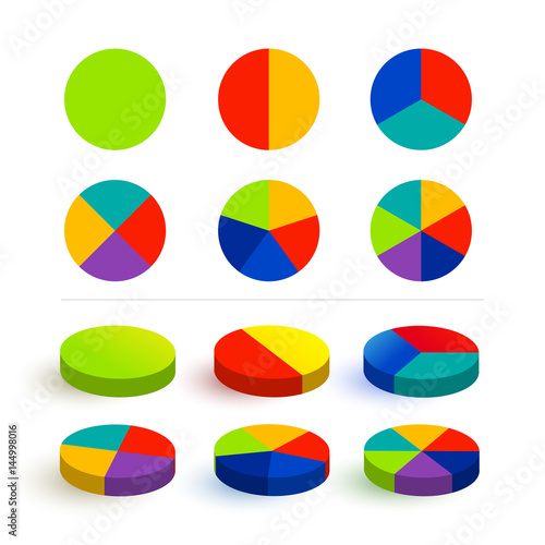 Set Pie Chart Graphs In 123456 Segments Colorful Icons