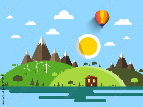 Printed kitchen splashbacks Light blue Flat Design Vector Landscape with House, Hills, Mountains and Sun on Blue Sky