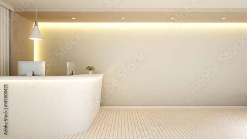 white counter reception for artwork - 3d Rendering Fototapeta