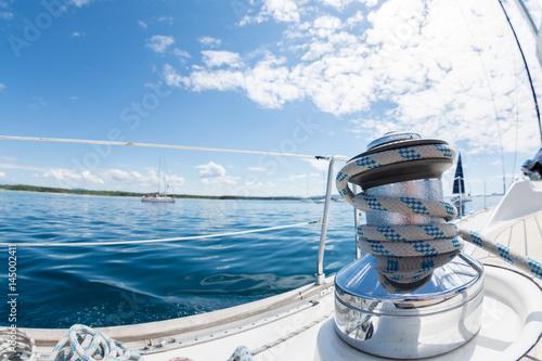 Keuken foto achterwand Zeilen Winsch am Segelboot