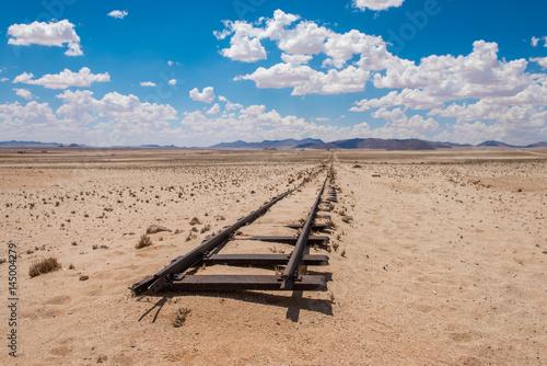 Deurstickers Zandwoestijn Abandoned railway tracks in the desert, Namibia