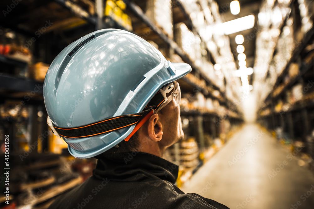 Fototapety, obrazy: Modern Warehouse Worker in Safety Helmet and Goggles
