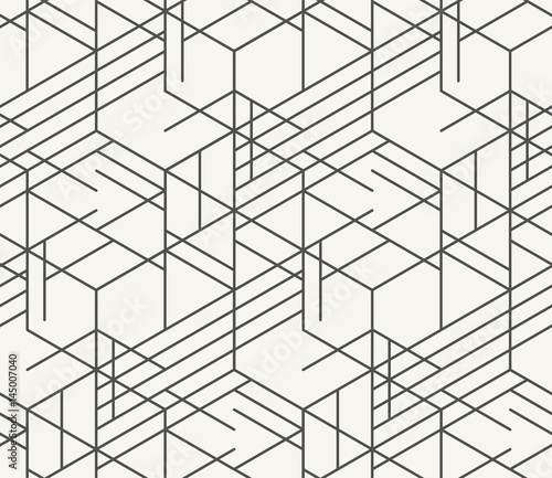 Poster Artificiel Modern monochrome irregular geometric hexagonal background in trendy outlined style. Unique hipster texture perfect for interior design, wallpaper and prints. Vector seamless pattern.