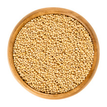 Yellow Mustard Seeds In Wooden Bowl. Sinapis Alba, Also White Mustard Or Eye Of Newt. Used For Sprouting, As Spice And For Making Mustard. Macro Food Photo Close Up From Above On White Background.