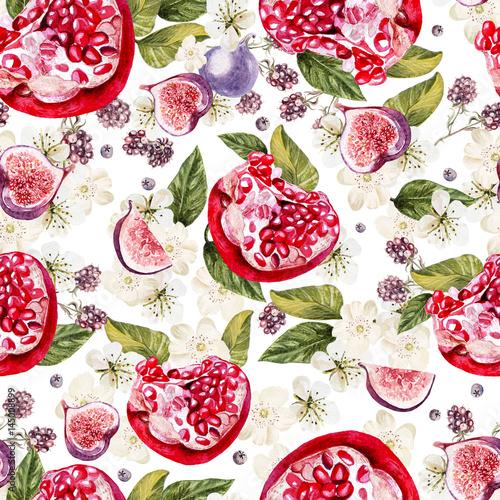 jasny-akwarela-bezszwowe-wzor-z-kwiatami-jezynami-i-owocami-granatu-rys-ilustracja
