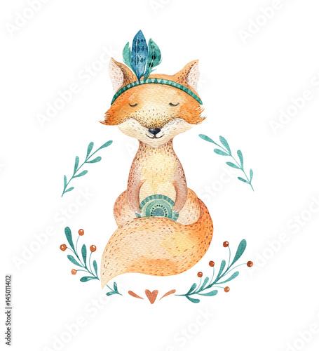 Śliczny dziecko lisa zwierzę dla dziecina, pepiniera odizolowywał ilustrację dla dzieci odziewać, wzór. WatercolorHand drawn boho image Idealny do projektowania futerałów na telefon, plakatów przedszkolnych, pocztówek.