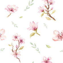Watercolor Seamless Wallpaper With Blossom Cherry Flowers, Branch And Leaves, Bohemian Watercolour Decoration Pattern. Design For Invitation, Wedding Or Greeting Cards