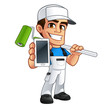 Vector illustration of a professional painter, he has a mobile phone in his hand