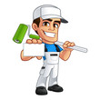 Vector illustration of a professional painter, he has a business card in his hand