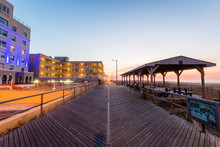 Path Leading To Ventnor City Beach In Atlantic City, New Jersey At Sunrise