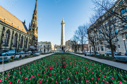 Fotografia, Obraz  View of Downtown Mount Vernon, baltimore maryand shot from the Tulip Garden in s