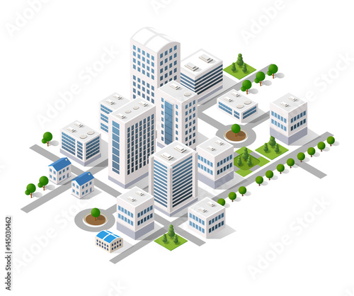 Fotomural Isometric 3D metropolis city quarter with streets, skyscrapers, trees and houses