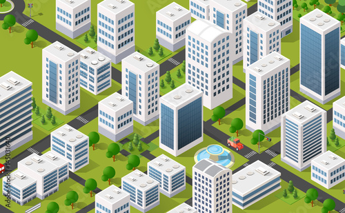 Foto op Aluminium Op straat Isometric 3D metropolis city quarter with streets, skyscrapers, trees and houses. Urban landscape top view