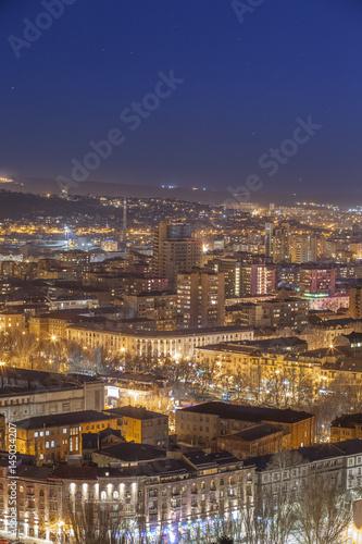 Fototapeta beautiful night shot of Yerevan obraz na płótnie