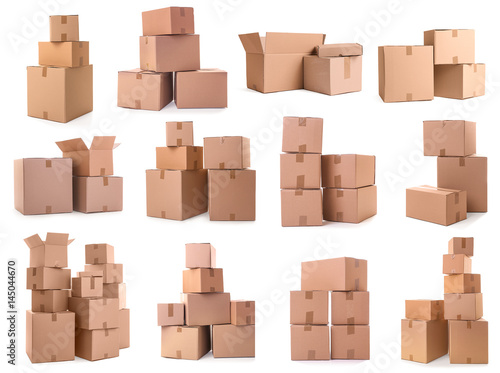 Cardboard boxes on white background Canvas Print