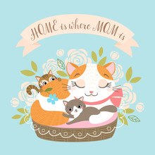 Mother's Day Greeting Card Or Poster With Cute Cat Family On Floral Background.