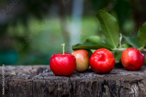 closeup red cherry on wood, thai cherry Canvas Print