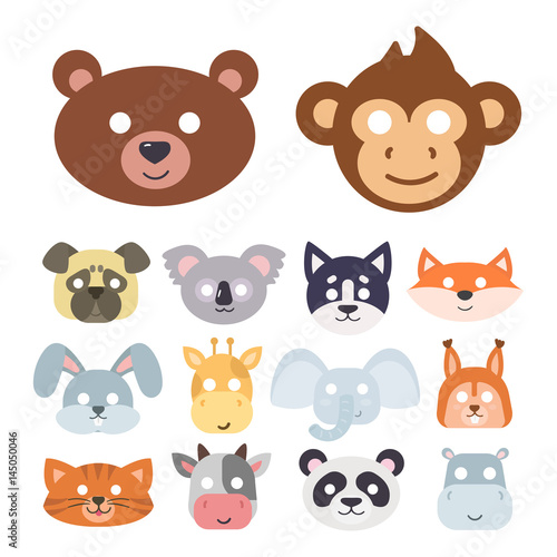 Staande foto Zoo Animals carnival mask vector set festival decoration masquerade and party costume cute cartoon head decor isolated celebration vector illustration.