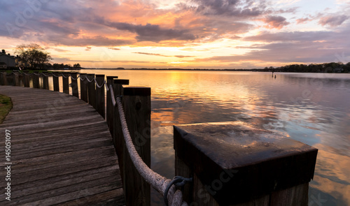 A stroll along the boardwalk on Lake Norman, located very close to Charlotte, North Carolina Canvas Print