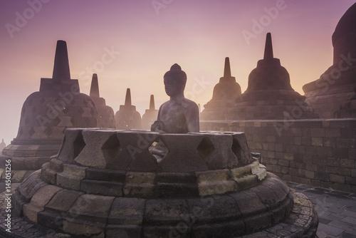 Aluminium Prints Indonesia Buddhist Temple Borobudur Taken at Sunrise. Yogyakarta, Indonesia