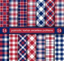 Patriotic Tartan Set Of White , Blue, Red Seamless Patterns