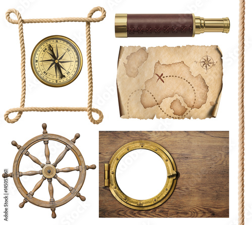Deurstickers Retro nautical objects rope, map, compass, steering wheel and porthole 3d illustration