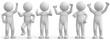 canvas print picture - weisse 3d Männchen beimfreuen und jubeln