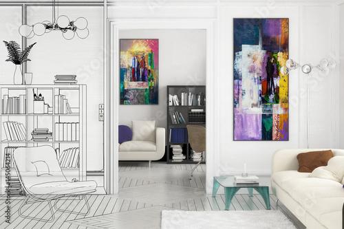 Apartment Einrichtung projekt einer apartment-einrichtung (teilzeichnung) - buy this stock