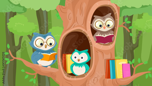 Owls Mascot Tree Library Canvas Print