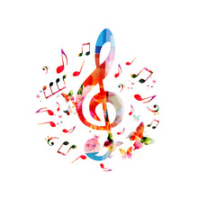 Music Notes Background. Colorf...