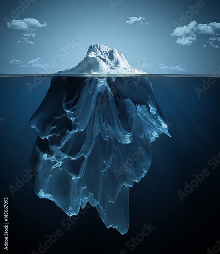 Fotografie, Obraz  iceberg over and under the water