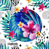 Abstract tropical summer seamless pattern in minimal style. - 145067635