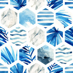 FototapetaWatercolor hexagon seamless pattern.
