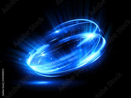 Fototapeta Glow effect. Ribbon glint. Abstract rotational border lines. Power energy. LED glare tape. .Luminous shining neon lights cosmic abstract frame. Magic design round whirl. Swirl trail effect. obraz
