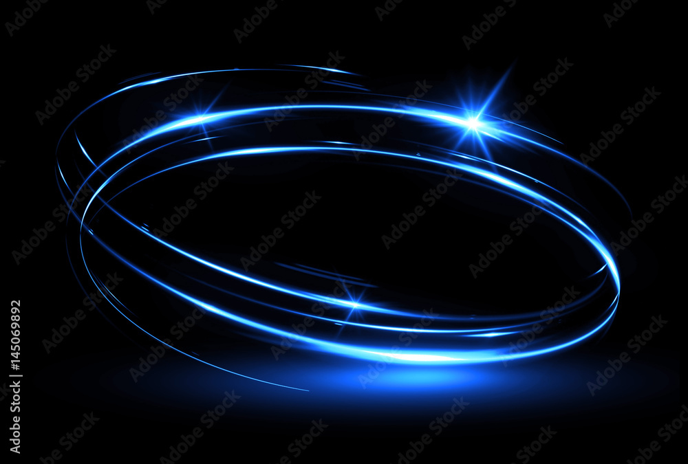 Fototapety, obrazy: Glow effect. Ribbon glint. Abstract rotational border lines. Power energy. LED glare tape. .Luminous shining neon lights cosmic abstract frame. Magic design round whirl. Swirl trail effect.