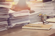 canvas print picture - Business Concept, Pile of unfinished documents on office desk, Stack of business paper, Vintage Effect