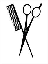 Scissors And Comb Barber Sign, Vector Illustration