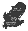 East of England - Greater London - South East England Map UK illustration