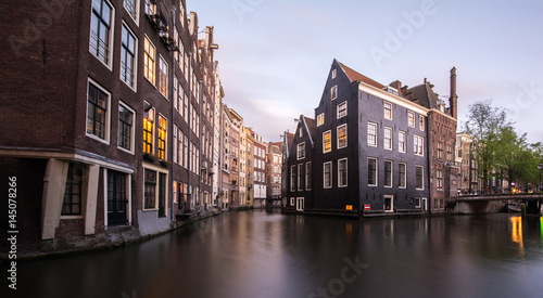 Photo  Buildings along the canals in Amsterdam