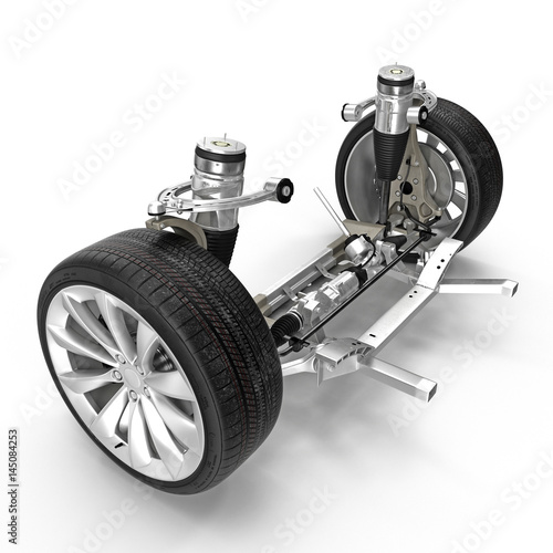Photo Electric Car Front Axle with new tire isolated on white