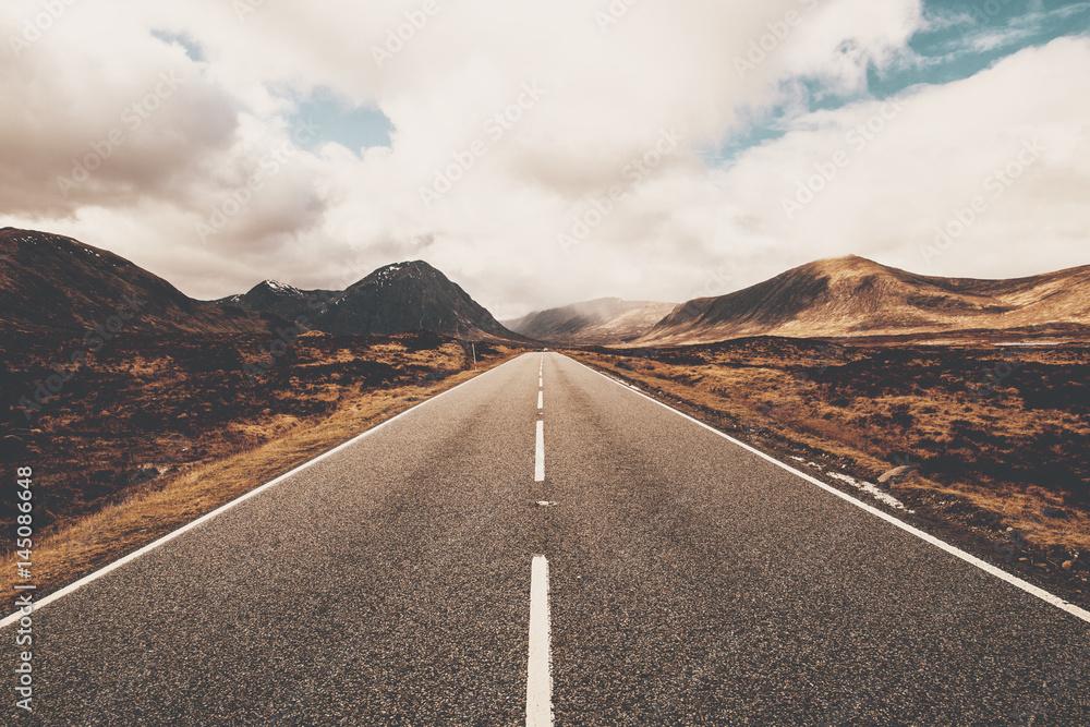 Fototapeta Open road in Glencoe, Scotland. Scottish Highlands.
