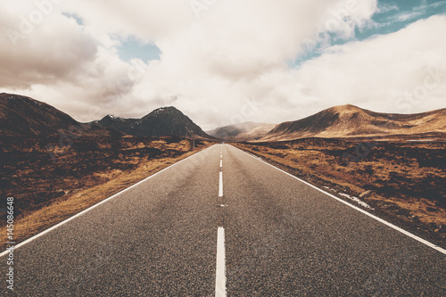 Fototapeta Open road in Glencoe, Scotland. Scottish Highlands. obraz