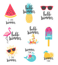 Summer Lettering Set With Holiday Elements. Watermelon, Pineapple, Lemon. Vector Illustration.