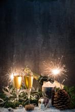 Silvester, Sekt ,Kerzen